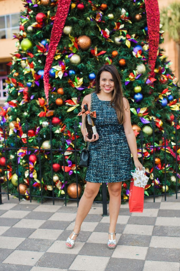 Julie Brown designs, classic shift dress, what to wear to a work holiday party