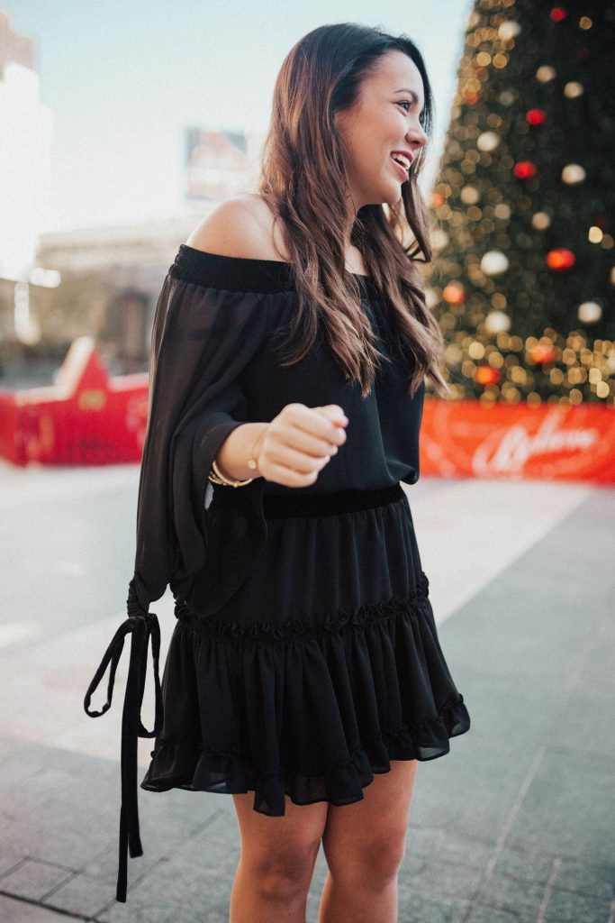 black chiffon dress, off the shoulder dresses, outfit trends