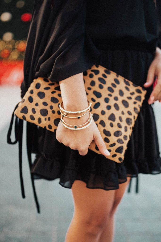 Julie Vos jewelry, Calf hair clutch, leopard print