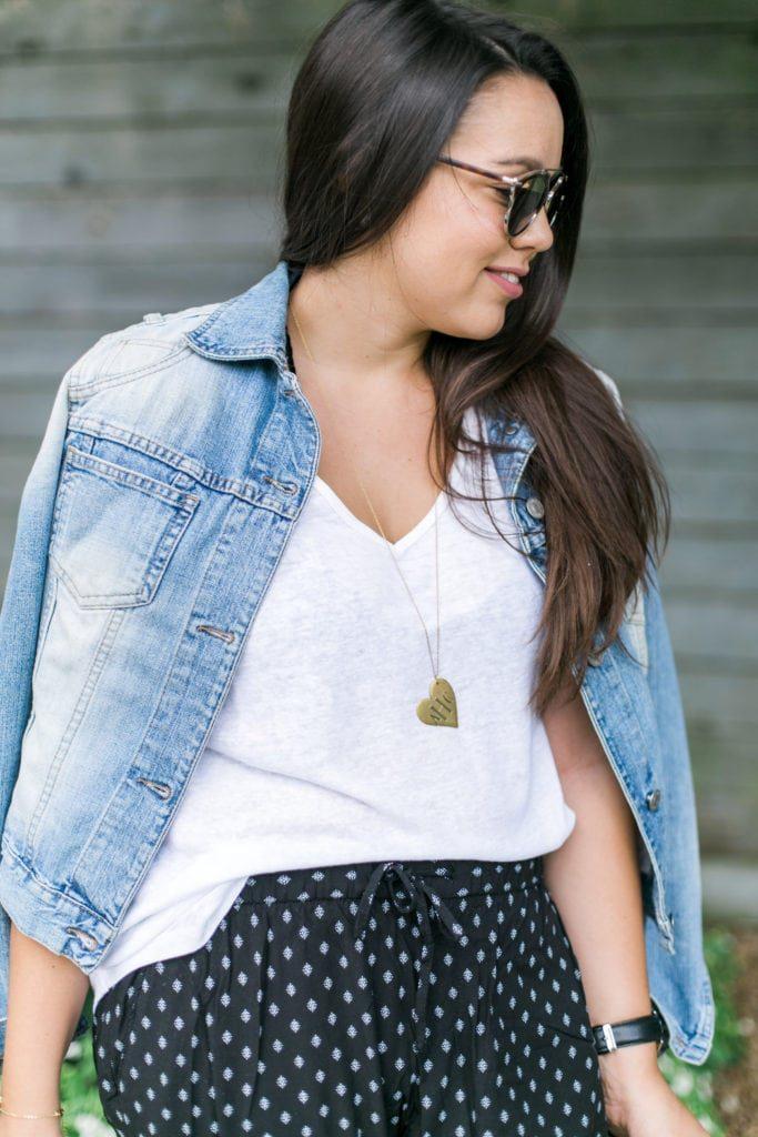 Golden Thread heart necklace, monogrammed necklace
