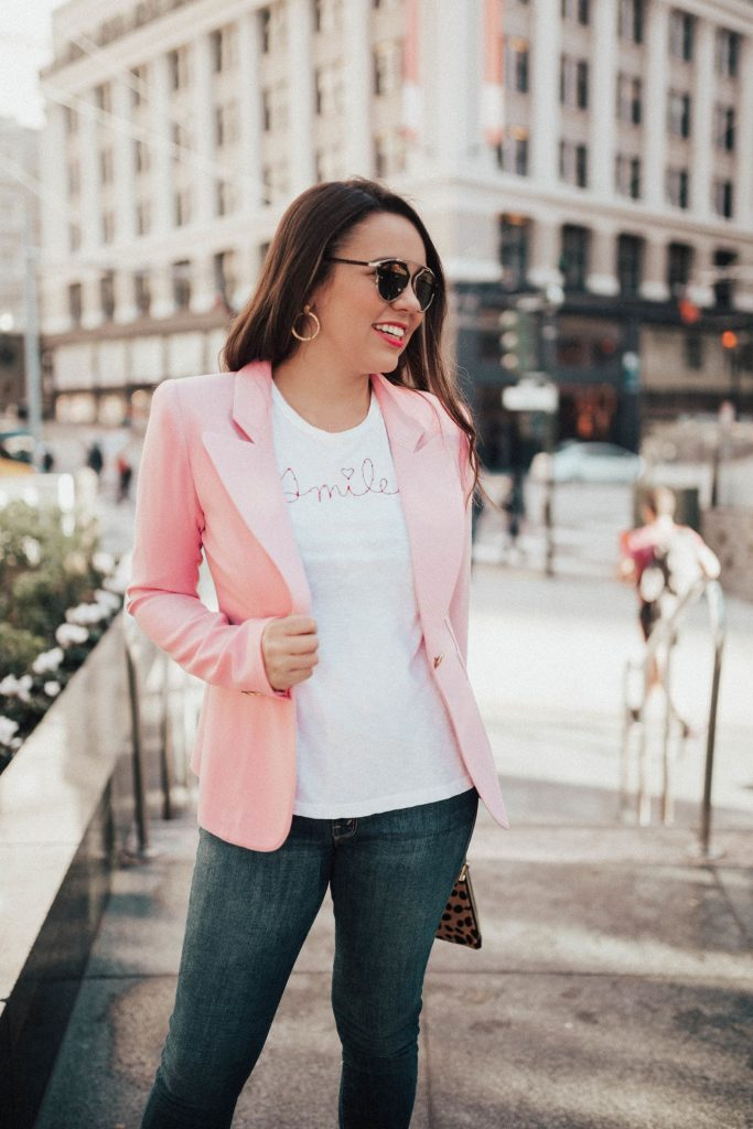 Sundry clothing tee, Smile t-shirt, pink blazer, Julie Vos earrings