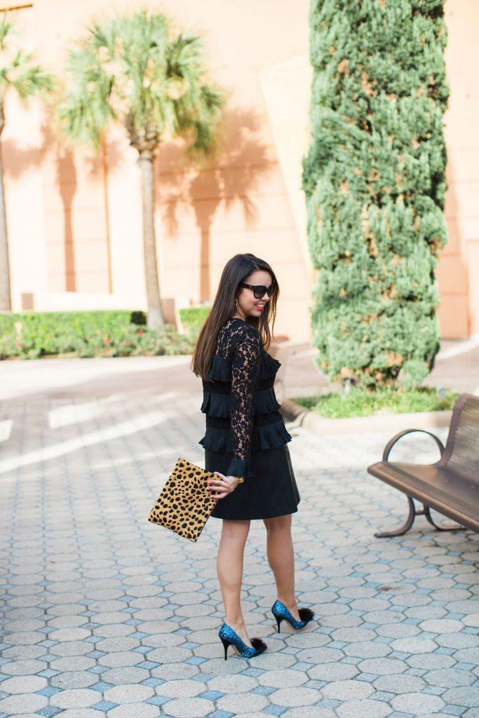 faux leopard clutch, chic lace top