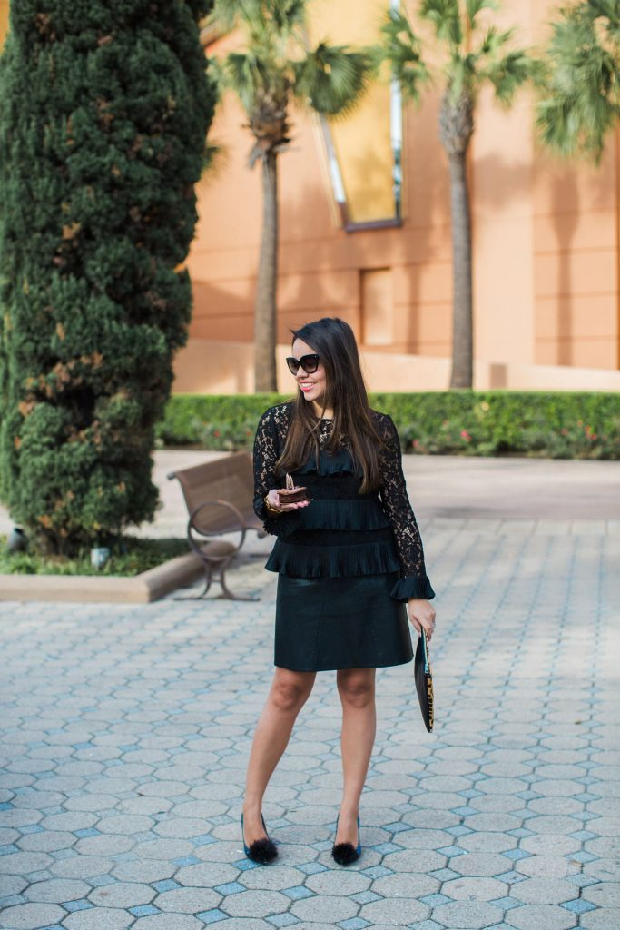 chic birthday outfit, all black outfit, tiered black top