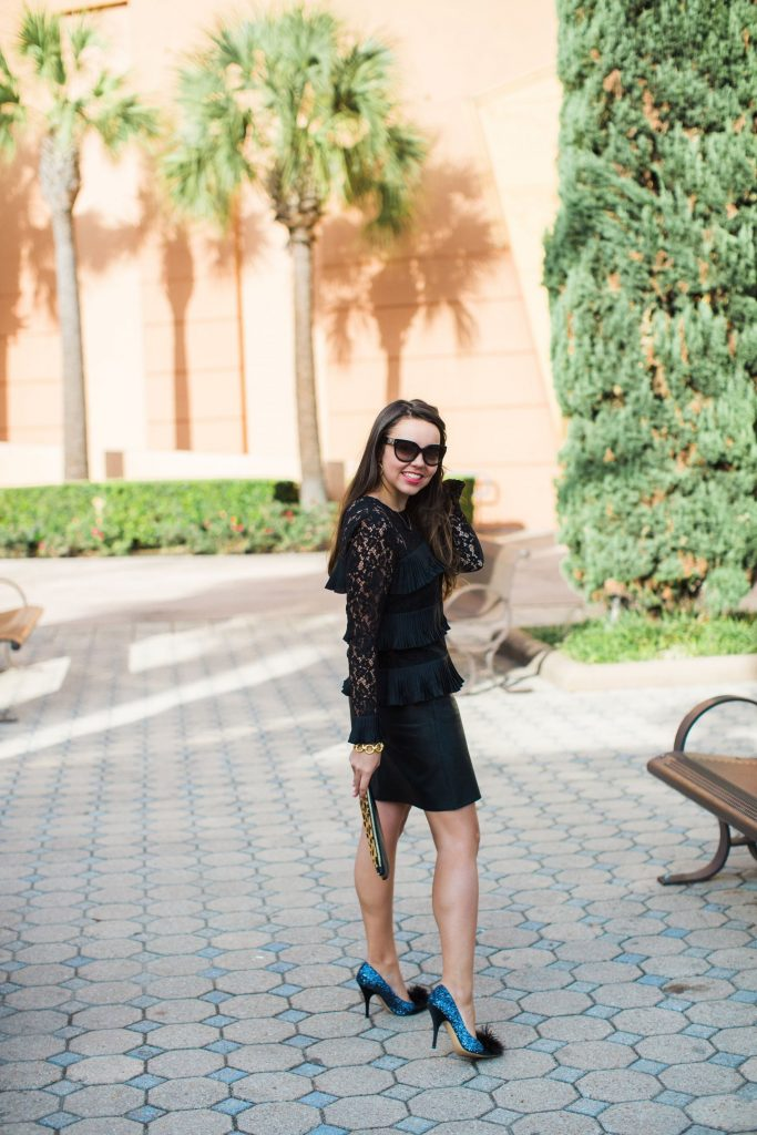 tiered black top, lace top, J.Crew tops, faux leather skirt