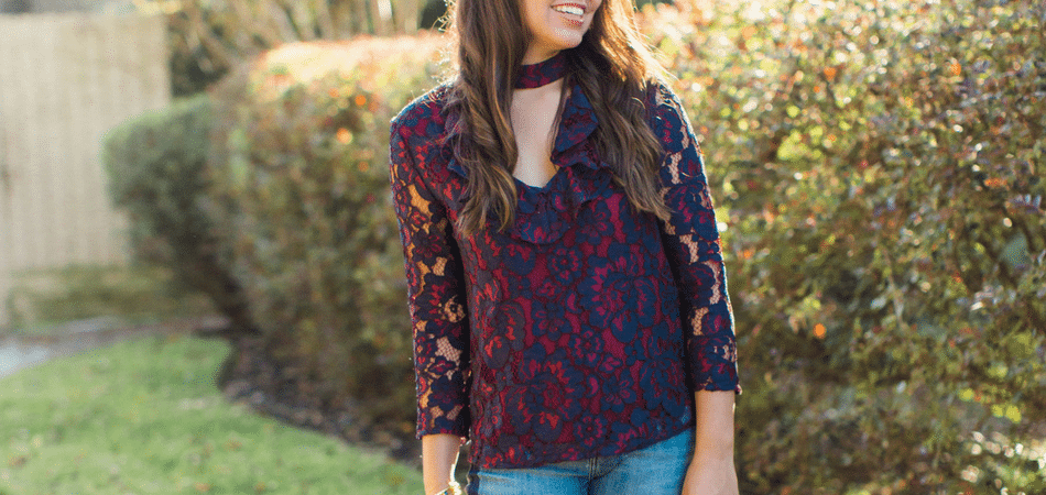 lace cutout top - Adored by Alex