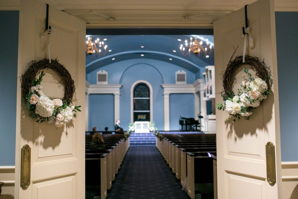 wedding chapel wreaths, southern wedding ideas
