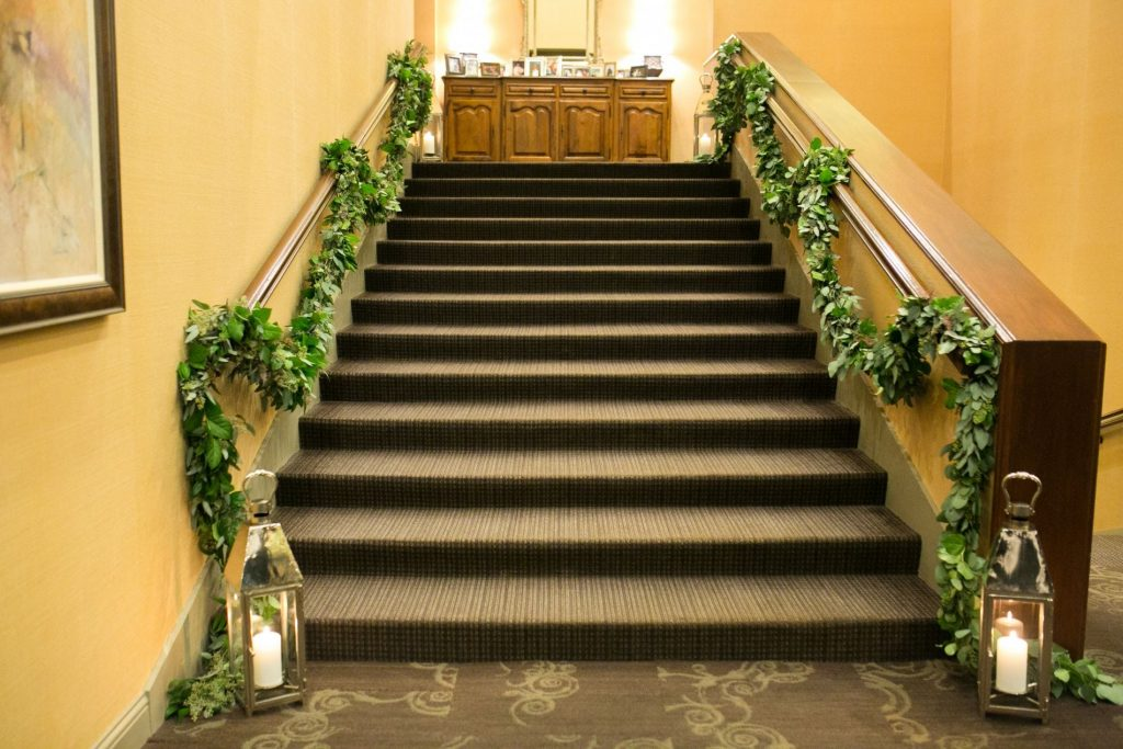 wedding garland, staircase garland ideas