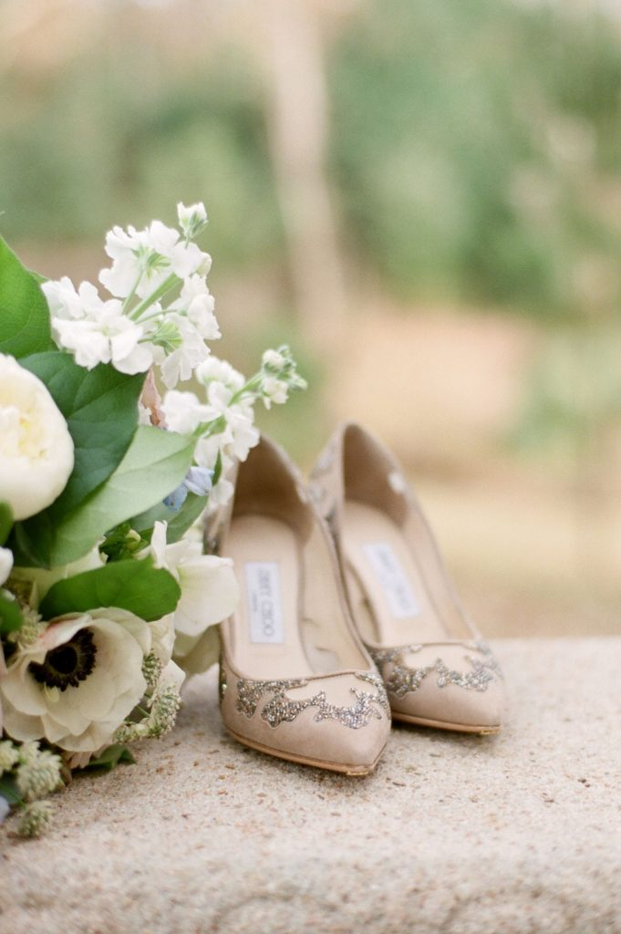 Jimmy Choo wedding shoes, bridal bouquet, Southern wedding