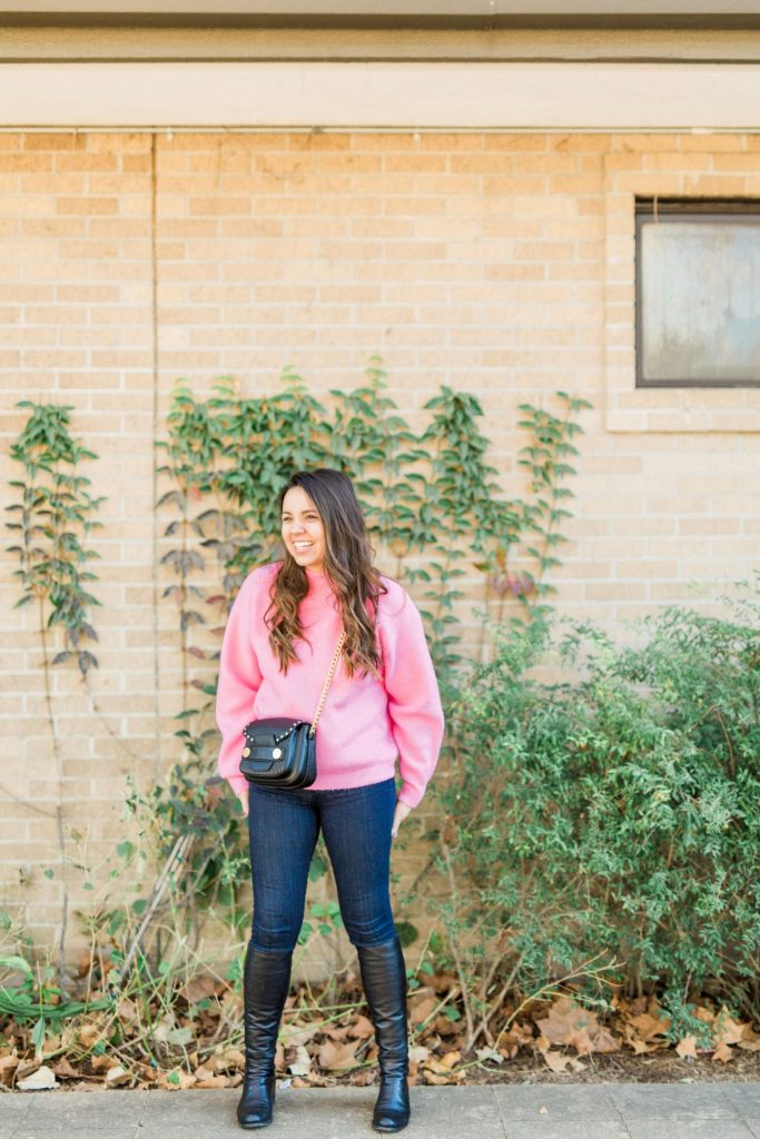 Hot pink sweater, trendy sweaters for winter, how to wear color in January
