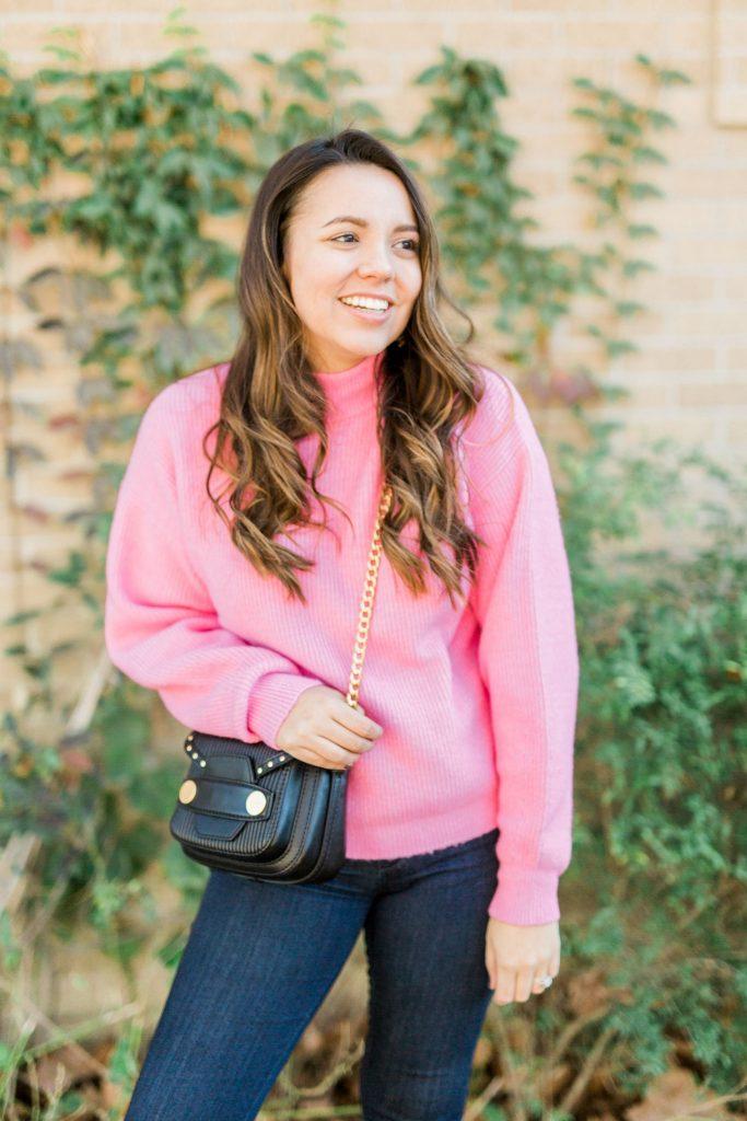 brunette balayage, Stella McCartney bag, Hot pink ribbed sweater