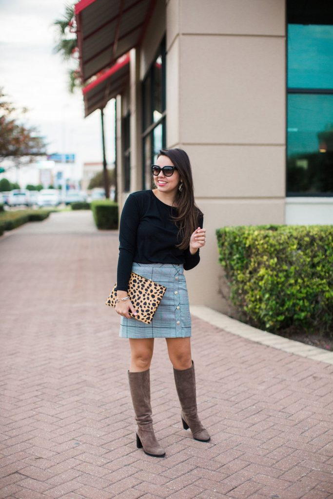 classic winter ensemble, plaid skirt, leopard clutch it bag