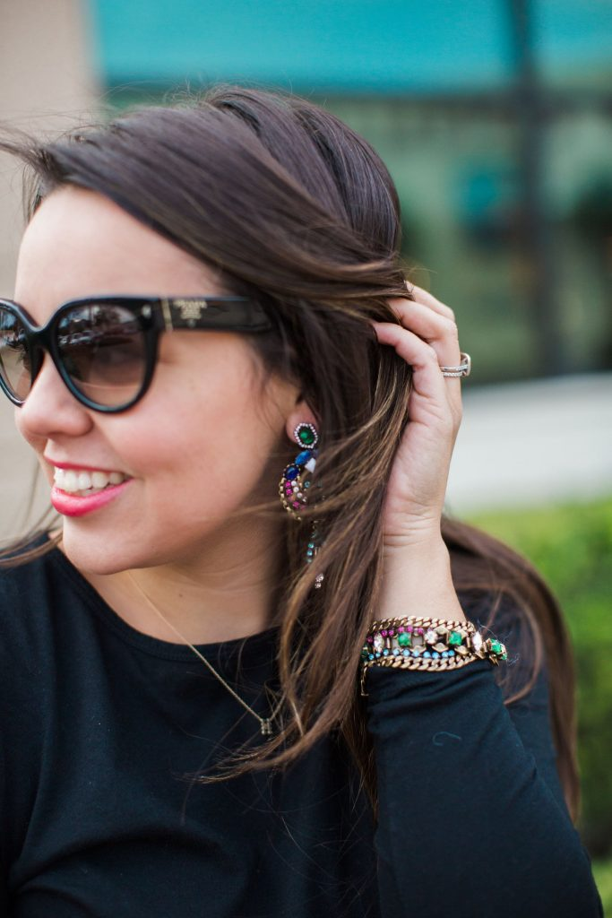 Prada cat eye sunglasses, Stella & Dot Rebecca Minkoff jewelry, statement jewelry ideas