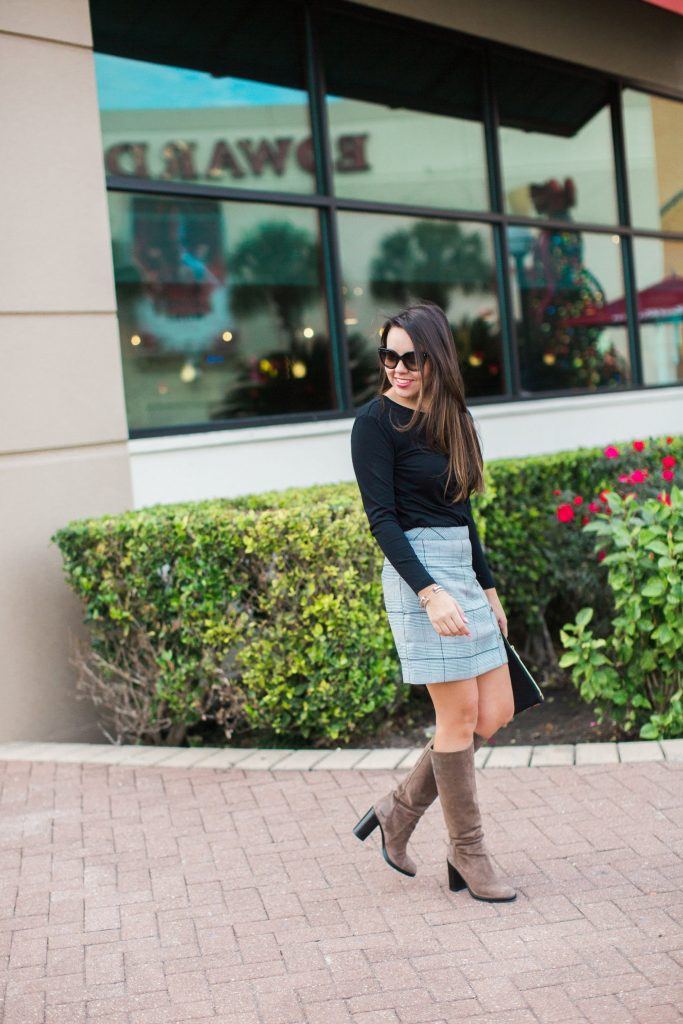 how to wear a plaid skirt for winter, mini skirts and boots outfit