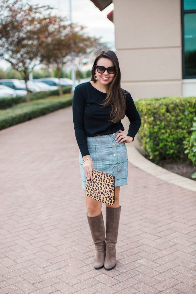 winter outfit ideas, budget-friendly trendy outfits, plaid faux button skirt, leopard clutch
