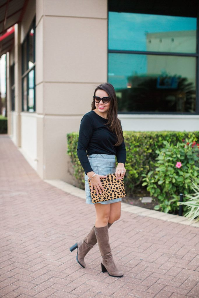 pattern mixing outfit, leopard and plaid pattern mix, suede high boots outfits