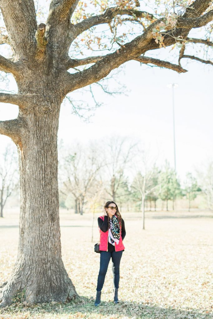 silk scarf, red quilted vest, Texas winter outfit
