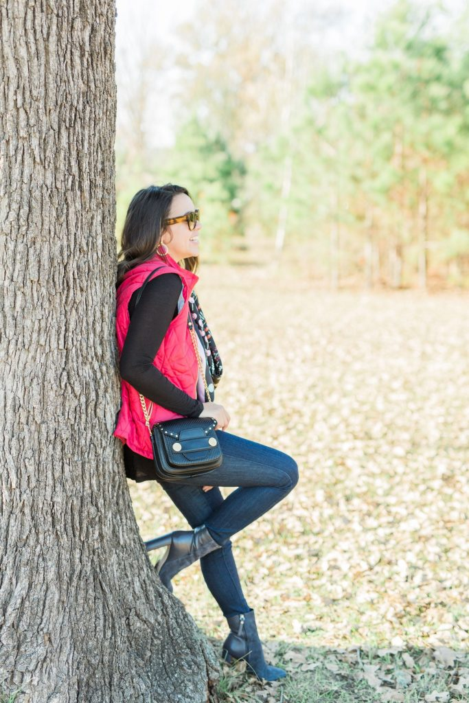 red quilted vest, preppy style, classic winter outfit ideas