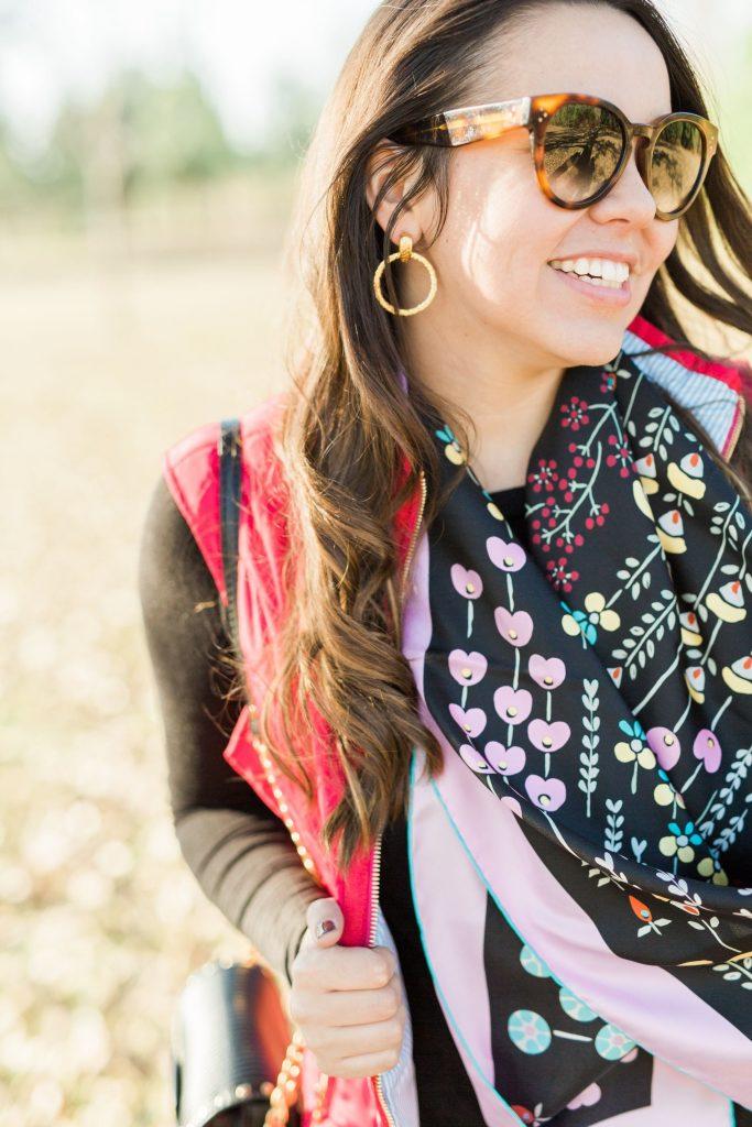 Valentino printed scarf, designer silk scarves, Julie Vos jewelry
