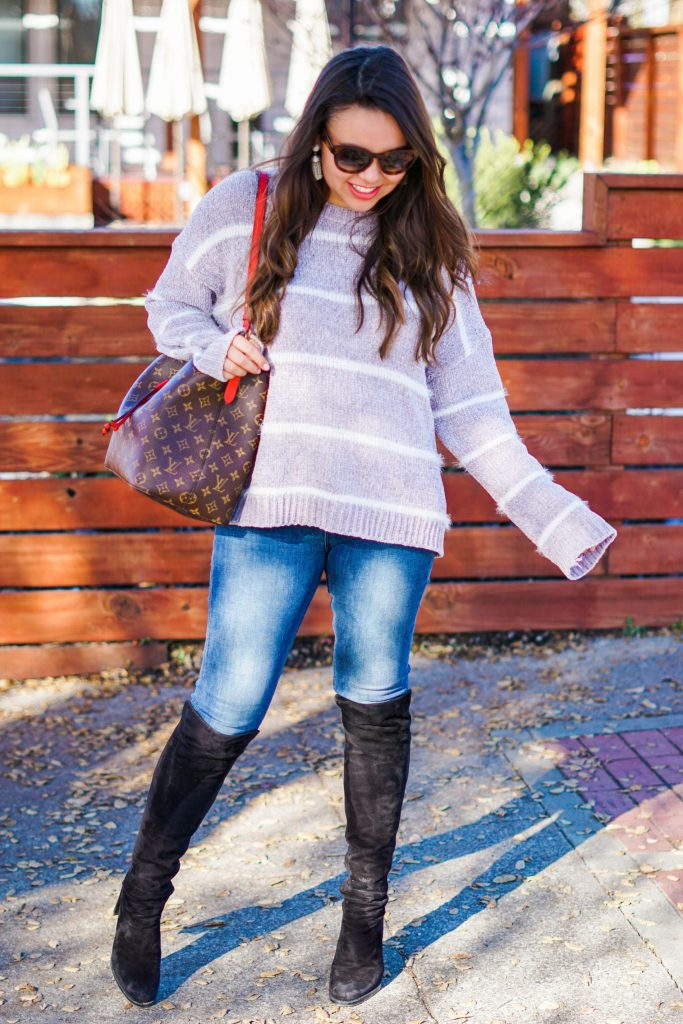 oversized striped fuzzy sweater