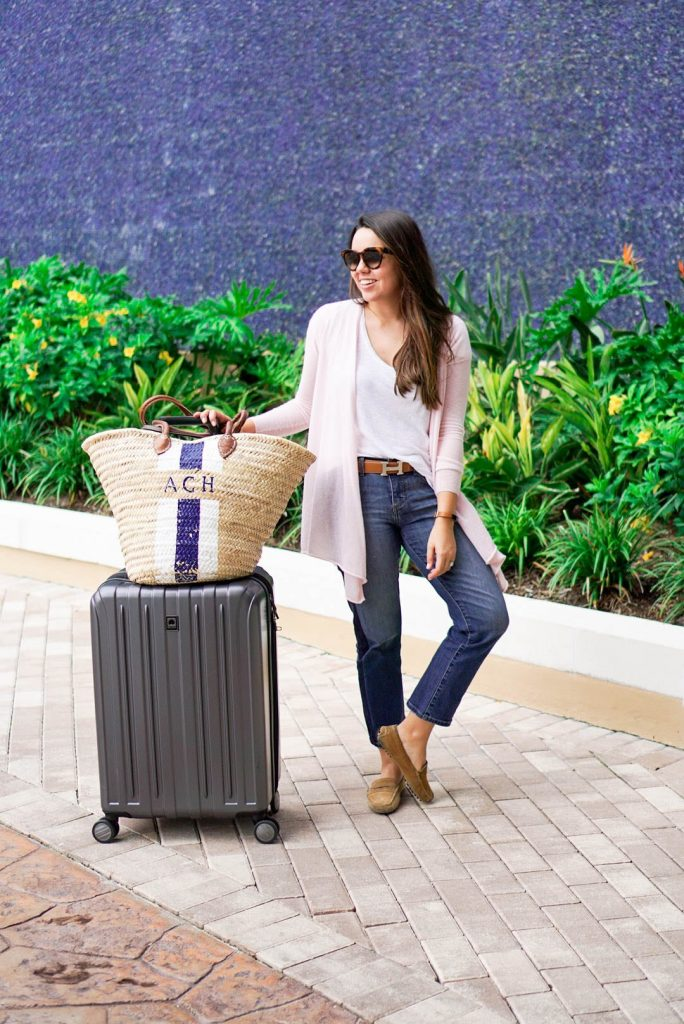 Beach trip travel style, delsey luggage
