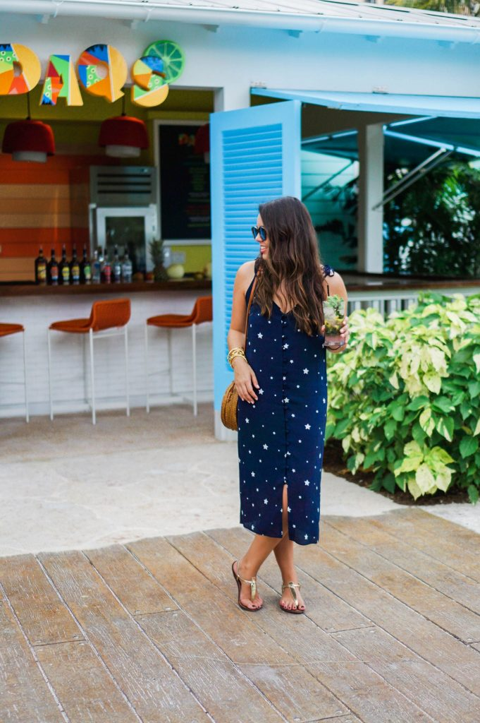Navy midi dress, beach style