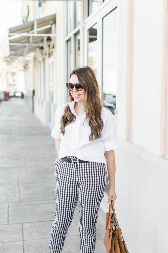 Gingham pants and crisp white blouse