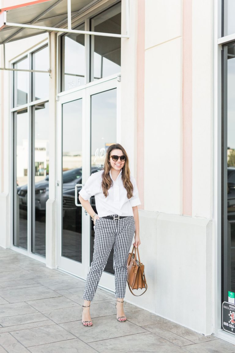 Black check ankle pants for spring