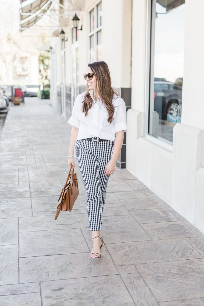 Gingham check pants for spring, gingham outfit ideas