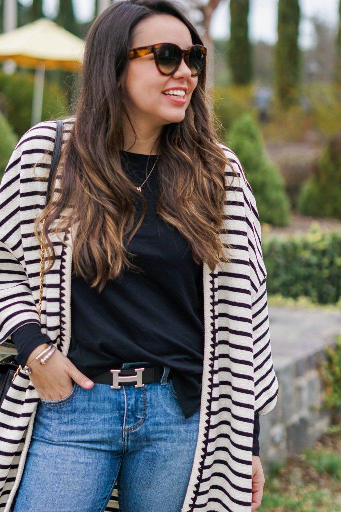 striped kimono outfits