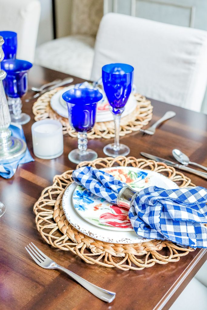 spring tablescape ideas, gingham napkins, LAFCO candles