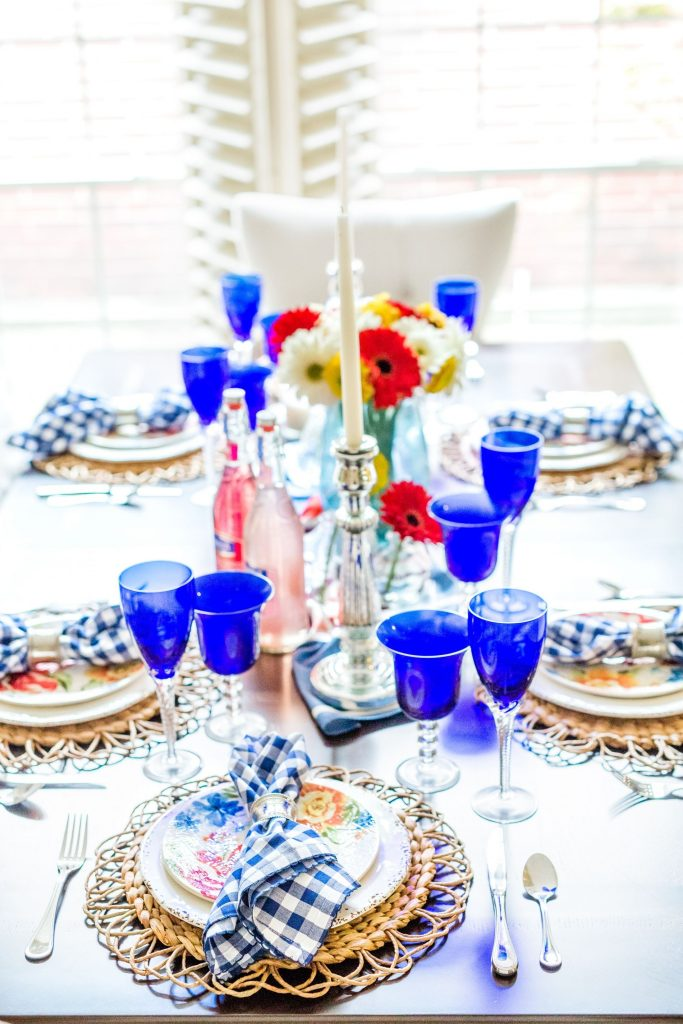 Primary color dining room table setting