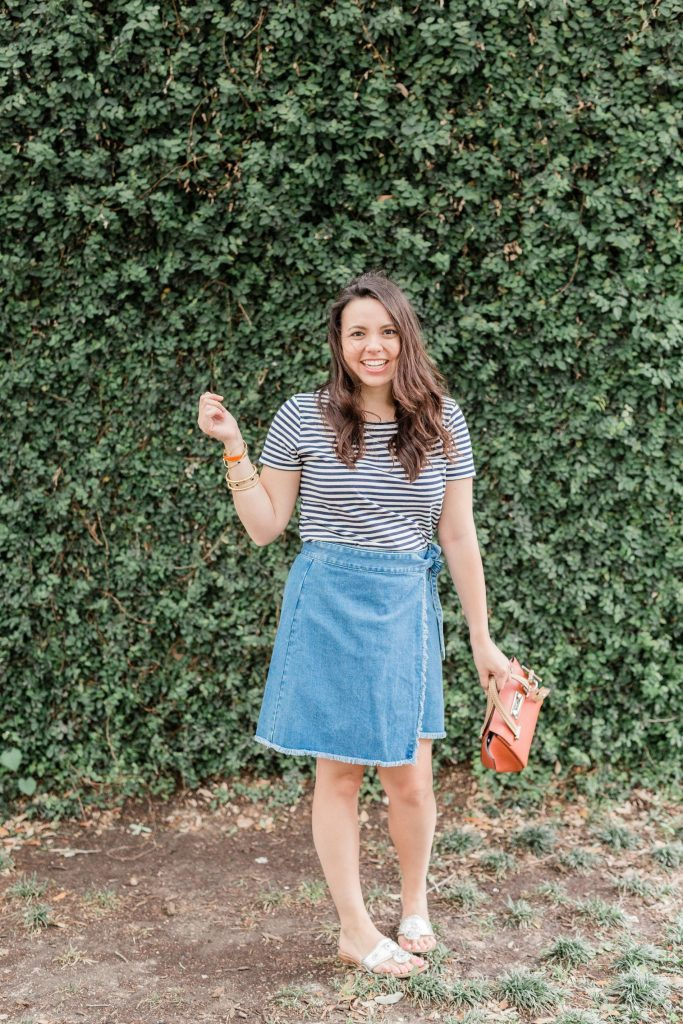 denim wrap skirt, preppy outfit ideas