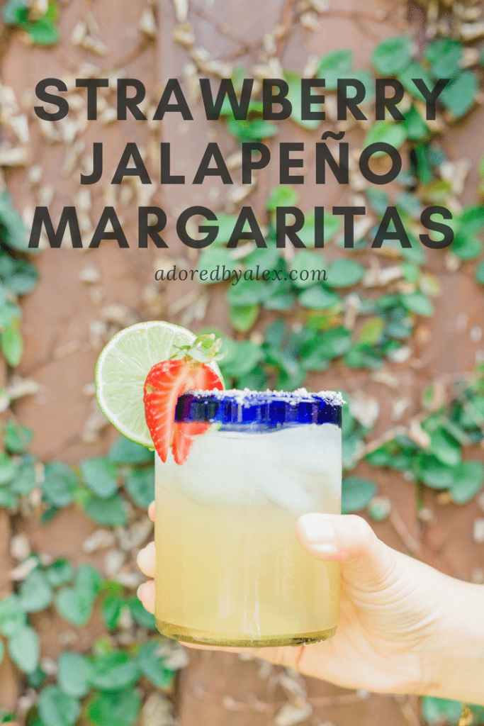 strawberry jalapeno margaritas recipe | Adored by Alex