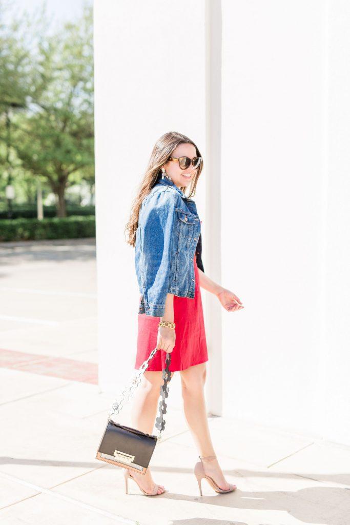 red linen minidress   adored by alex