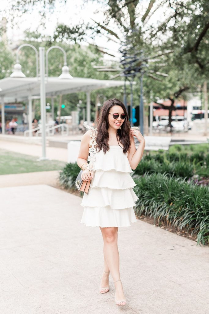 ruffled white denim dress, perfect spring and summer outfits