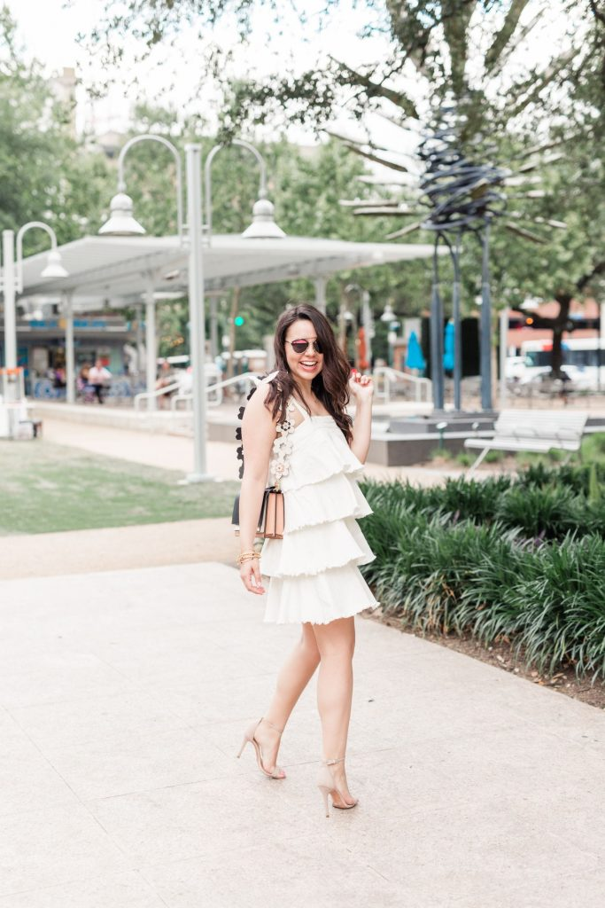little white party dress, ruffled white dress