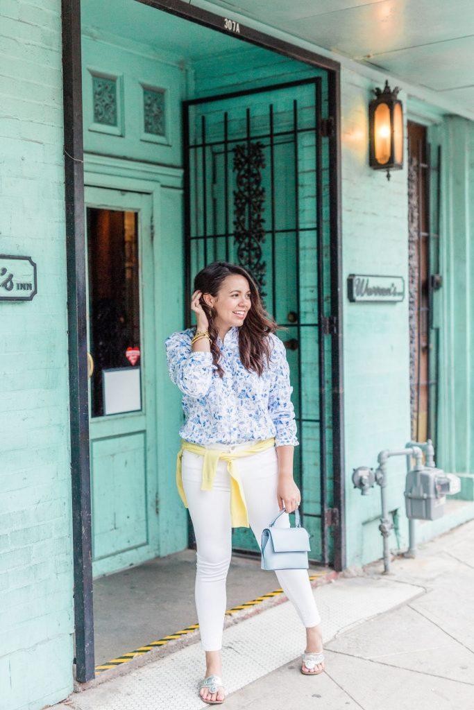 floral linen button-down shirt