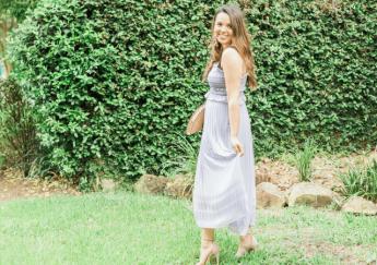 Pleated Lavender Midi Dress