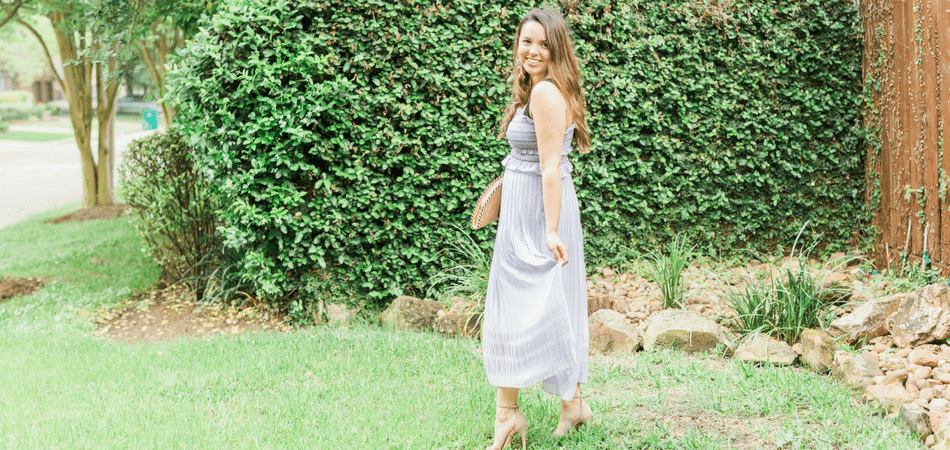 pleated lavender midi dress | Adored by Alex