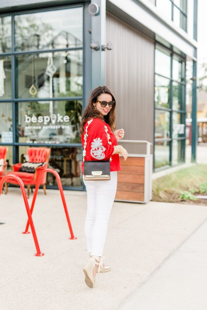 red embroidered top, budget friendly summer tops