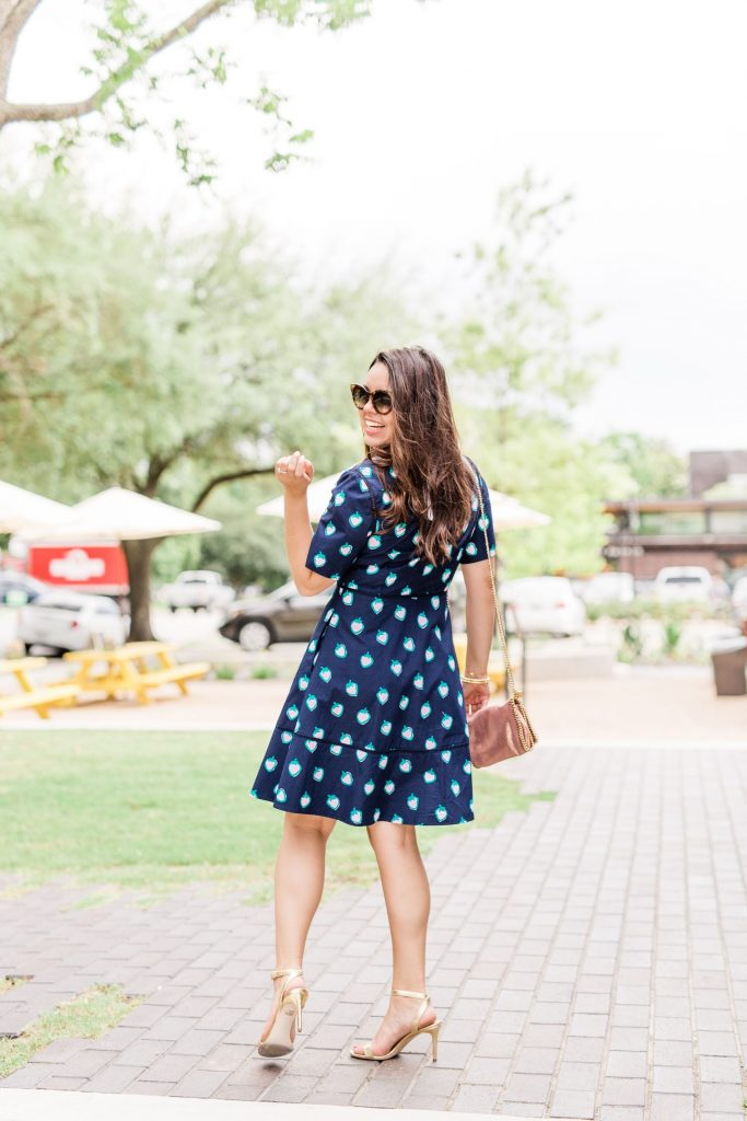 Strawberry print preppy shirtdress