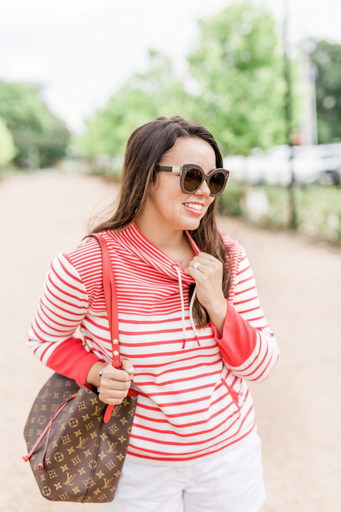 Red striped Barbour sweater outfit