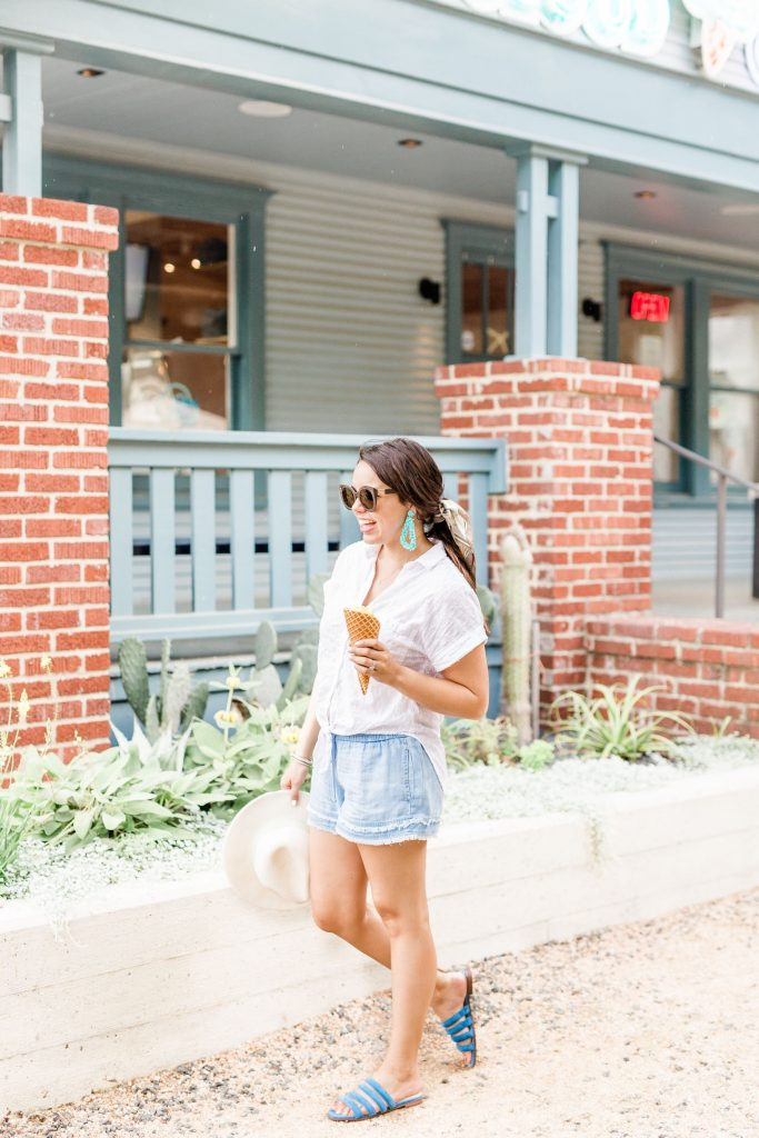 eyelet white cotton top, summer outfits #summer #style #chambray