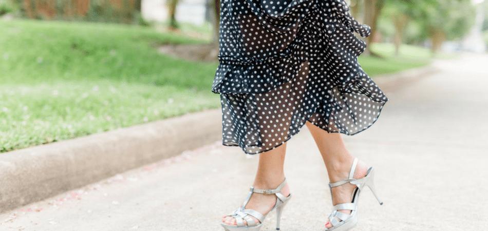 polka dot maxi dress | Adored by Alex