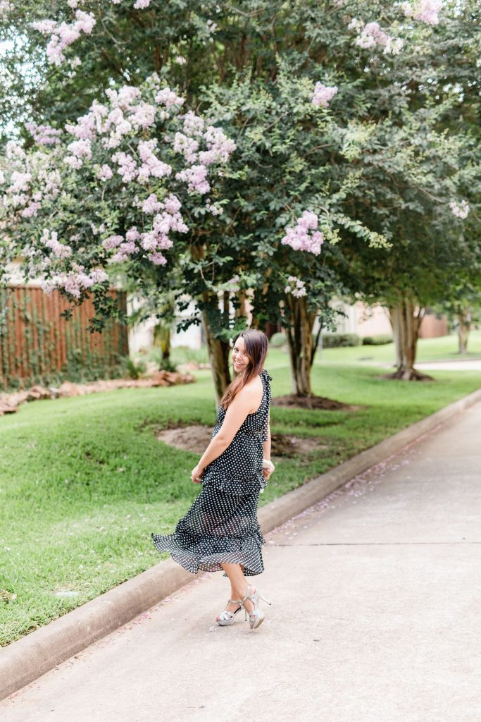 polka dot tiered maxi dress | Adored by Alex