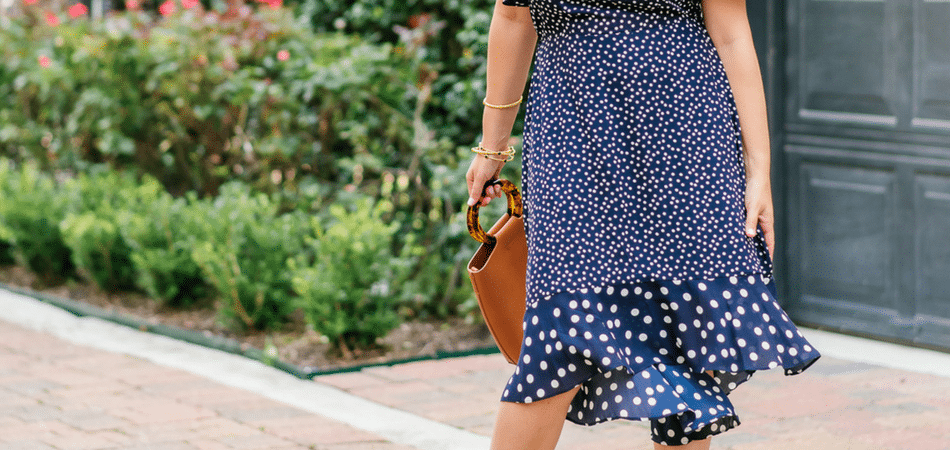 one shoulder polka dot midi dress | Adored by Alex