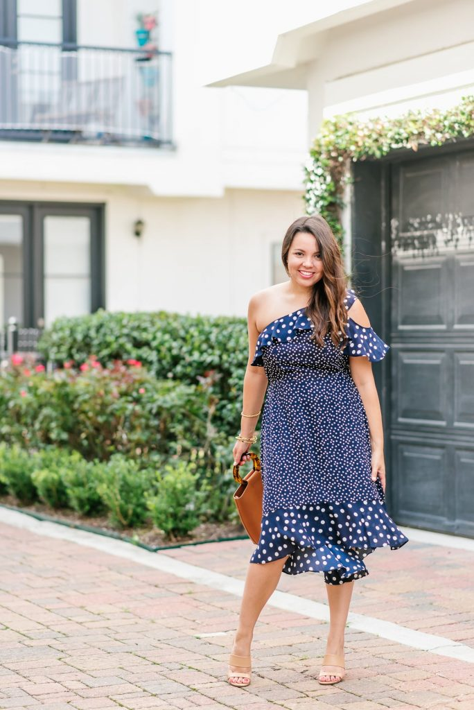one shoulder polka dot midi dress