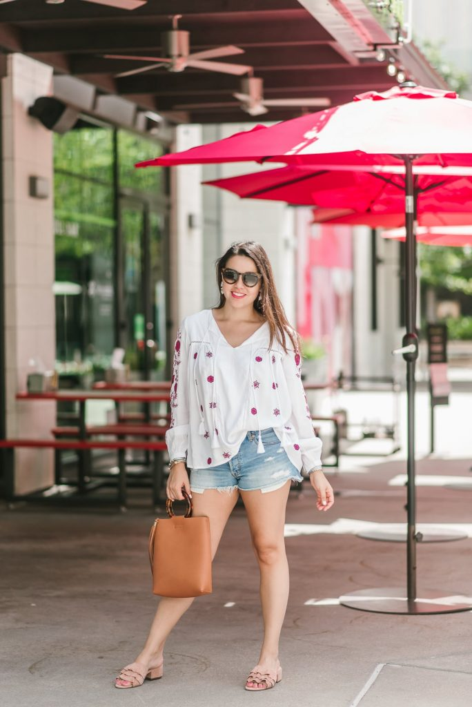 embroidered peasant blouse, under $100 summer tops