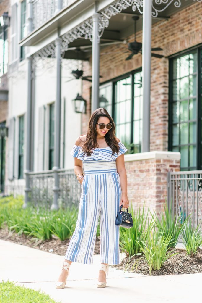ruffled stripe jumpsuit