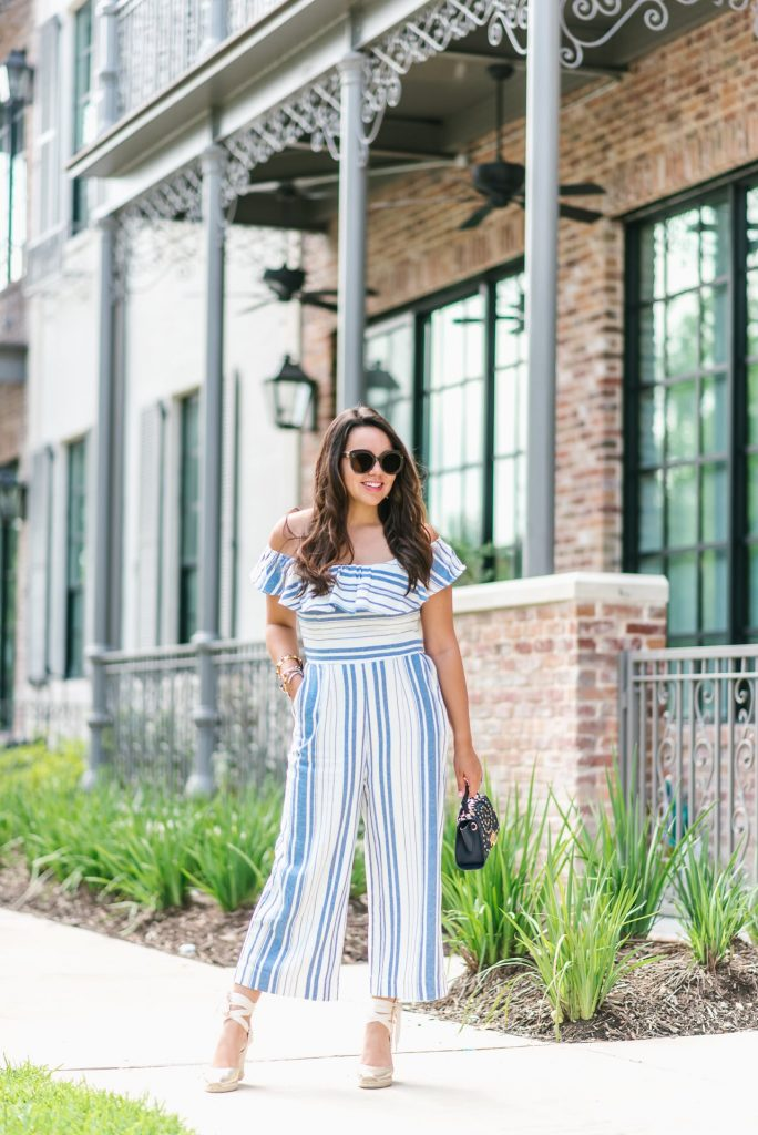 striped ruffle jumpsuit | Adored by Alex